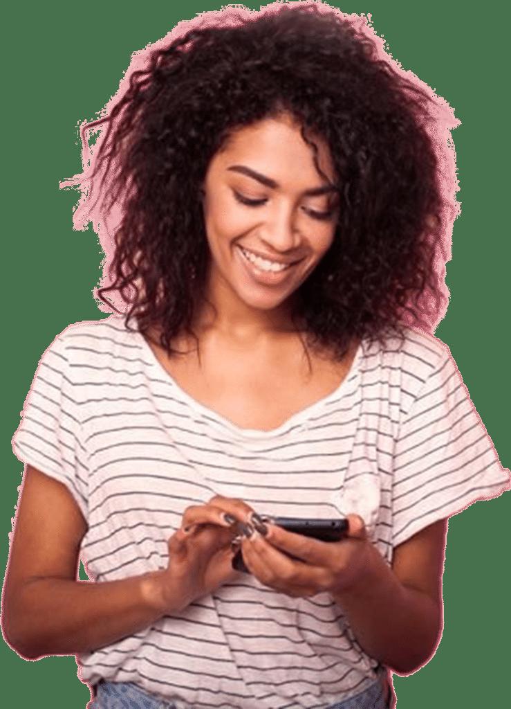 Woman checking smart phone